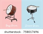 bass drum and snare drum vector ...   Shutterstock .eps vector #758017696