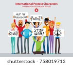 set of angry international... | Shutterstock .eps vector #758019712