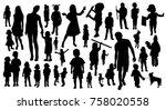 children black silhouettes | Shutterstock .eps vector #758020558