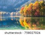 boat on the hinterer... | Shutterstock . vector #758027026