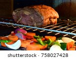 tasty grilled meat in oven with ... | Shutterstock . vector #758027428