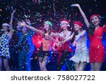group of friend  at the new... | Shutterstock . vector #758027722