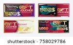 gift voucher gold template... | Shutterstock .eps vector #758029786