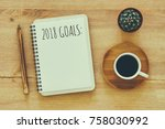 top view 2018 goals list with... | Shutterstock . vector #758030992
