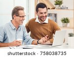 two business men together in... | Shutterstock . vector #758038735