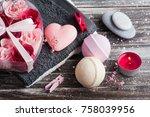 bath spa accessories on rustic...   Shutterstock . vector #758039956