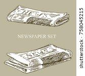 set of newspapers. vintage... | Shutterstock .eps vector #758045215