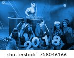 teenagers are celebrating at... | Shutterstock . vector #758046166