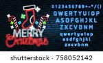 christmas text neon sign. neon... | Shutterstock .eps vector #758052142