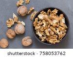 wallnuts composition on black... | Shutterstock . vector #758053762