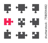 set of puzzle flat icons ... | Shutterstock .eps vector #758054482