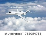 business jet airplane flying on ... | Shutterstock . vector #758054755