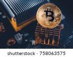 gold bitcoin electronic... | Shutterstock . vector #758063575