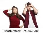 portrait of fearful shocked... | Shutterstock . vector #758063902