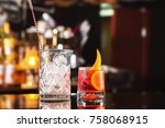 closeup glass of negroni...   Shutterstock . vector #758068915