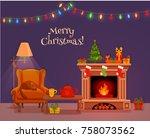 christmas room interior in... | Shutterstock .eps vector #758073562