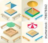 sandbox with a set of wooden...   Shutterstock .eps vector #758078362