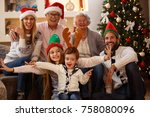 happy children with family... | Shutterstock . vector #758080096