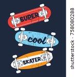 skate drawings as vector for... | Shutterstock .eps vector #758080288