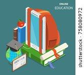 online education flat isometric ...   Shutterstock .eps vector #758080972