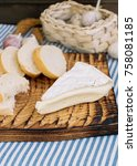 bread  cheese and a glass of... | Shutterstock . vector #758081185