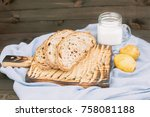 bread with berries and a glass... | Shutterstock . vector #758081188