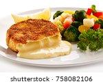 fried camembert and vegetables | Shutterstock . vector #758082106