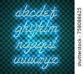 glowing blue neon script font...   Shutterstock .eps vector #758088625