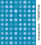 set of different snowflakes on... | Shutterstock .eps vector #758089546