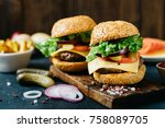 tasty beef burger with lettuce... | Shutterstock . vector #758089705