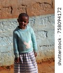 Small photo of Nyeri, Kenya, October 22, 2009: Unidentified smiling Kenyan girl