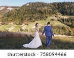 beautiful bride and groom... | Shutterstock . vector #758094466