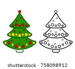 christmas tree  line icons on a ... | Shutterstock . vector #758098912