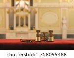 theater concept. golden opera...   Shutterstock . vector #758099488
