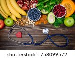 background healthy food for... | Shutterstock . vector #758099572