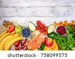 background of healthy food for... | Shutterstock . vector #758099575
