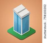 skyscraper office isometric   Shutterstock .eps vector #758103202