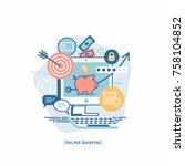 vector design element on online ... | Shutterstock .eps vector #758104852