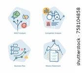 cool vector business plan... | Shutterstock .eps vector #758104858