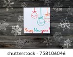 new year concept on wooden... | Shutterstock . vector #758106046