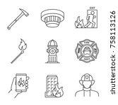 firefighting linear icons set.... | Shutterstock .eps vector #758113126