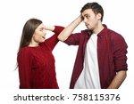 studio shot of funny young... | Shutterstock . vector #758115376