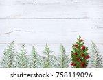 christmas wooden background... | Shutterstock . vector #758119096