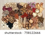 traditional chinese herbs used... | Shutterstock . vector #758122666