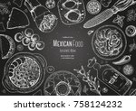 mexican food top view frame. a... | Shutterstock .eps vector #758124232