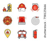 firefighting color icons set.... | Shutterstock .eps vector #758125666