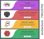 casino web banner templates set.... | Shutterstock .eps vector #758125702