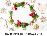 frame with christmas wreath ... | Shutterstock . vector #758126995