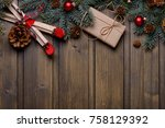 christmas or new year card with ... | Shutterstock . vector #758129392