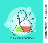 laboratory conical and round... | Shutterstock .eps vector #758130028